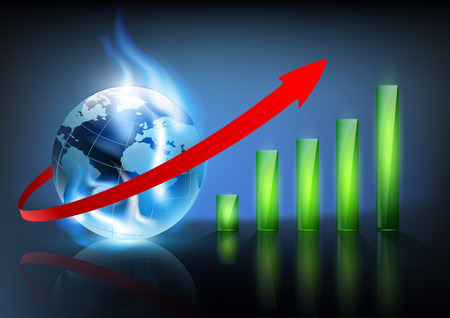 financial charts and planet earth with a blue flame Vector