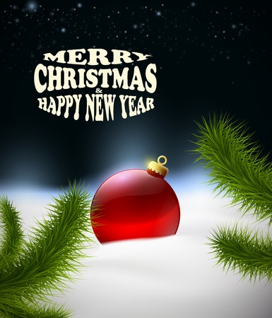 Christmas background with Christmas ball in the snow Vector