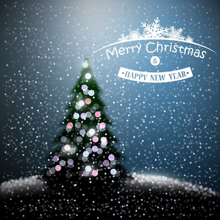 Christmas background with Christmas tree and garlands Vector