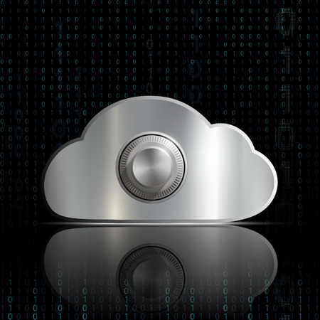 storage cloud with a safe lock Vector