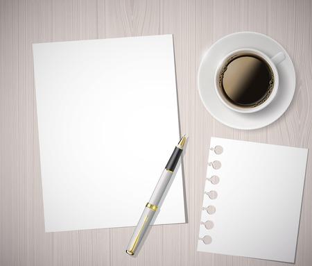 letras negras: hoja de papel y una taza de caf� en una mesa de madera Vectores