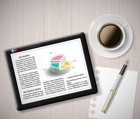 articulos oficina: tableta digital con información gráfica y una taza de café Vectores