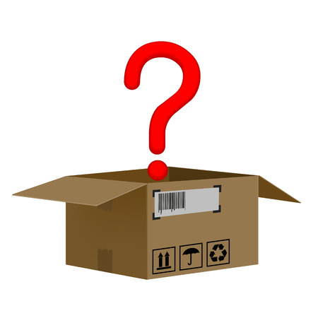 shipped: box with a question mark isolated on white background Illustration