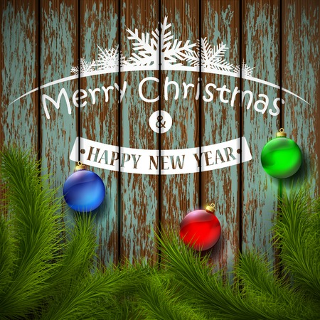christmas balls and christmas tree on a wooden surface Vector