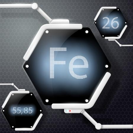 neutrons: chemical element iron Illustration