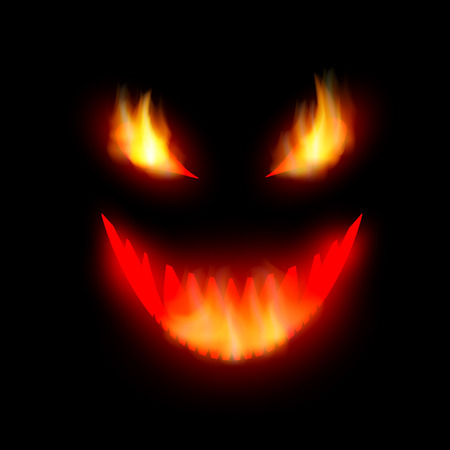face the demon with burning eyes