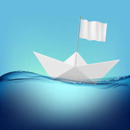 floats: paper boat with a white flag floats on the water surface