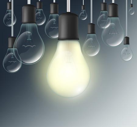 incandescent: incandescent lamp on a dark blue background Illustration