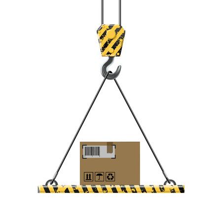 construction crane: crane lifts a box with cargo Illustration