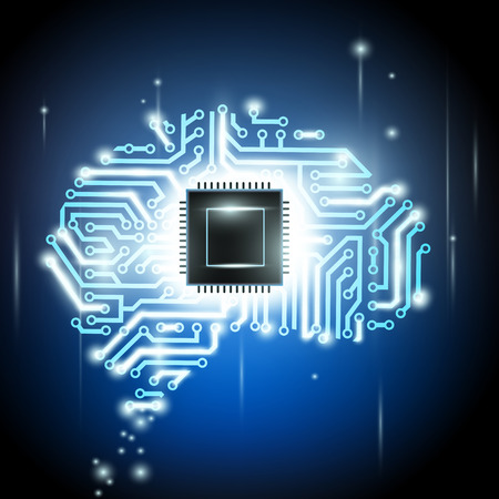 the human brain as a computer chip 向量圖像