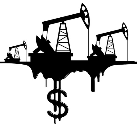 silhouette pumpjack and oil with the dollar