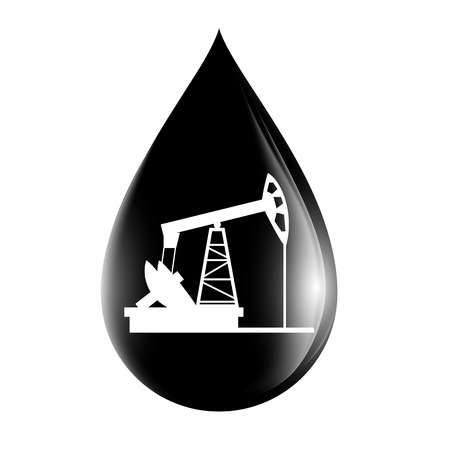 oilwell: pumpjack silhouette on a drop of oil