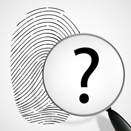 data theft: magnifying glass with a question mark and fingerprint