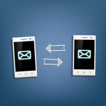 between: transmission of messages between phones