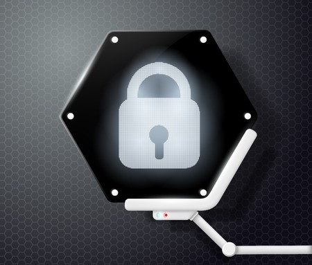 hexadecimal: digital lock icon on the screen in the form of honeycombs