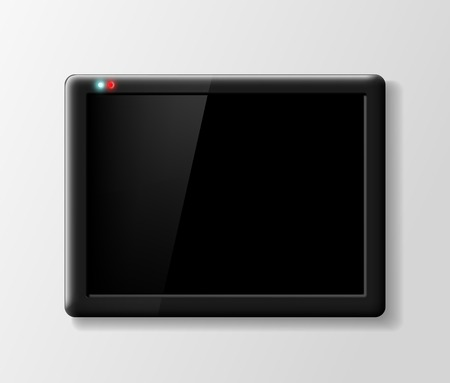 touch sensitive: black digital tablet on a gray background