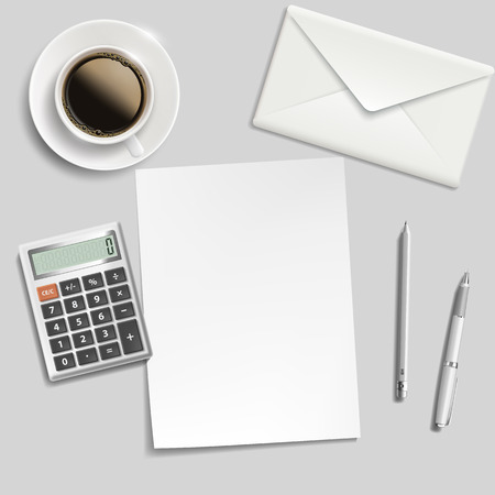 ballpoints: sheet of paper, envelope, calculator, pen and cup of coffee on the table Illustration