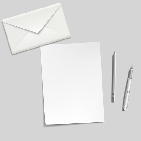 envelope: white sheet, envelope, pen and pencil on the table