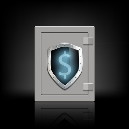 safety box: metal safety box with a shield which shows the dollar sign