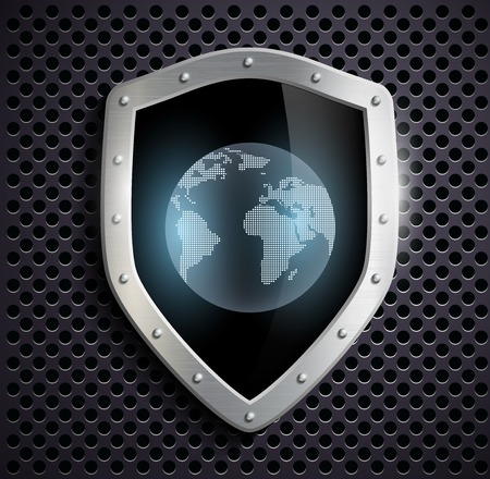 safe world: metal shield with the image of planet earth