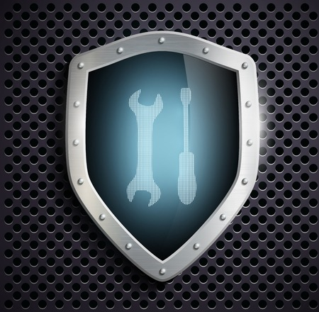 instrumentation: metal shield with the image of the tool