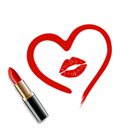 imprint: heart drawn in lipstick and lip imprint