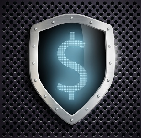ensuring: metal shield with the image of dollar