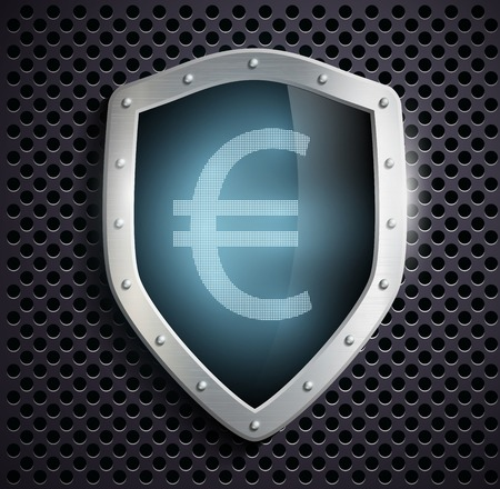 ensuring: metal shield with the image of euro