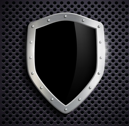 metal shield with a black screen