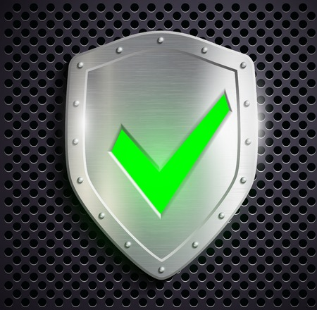metal shield: metal shield with green tick
