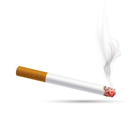 smoldering cigarette: smoldering cigarette on a white background