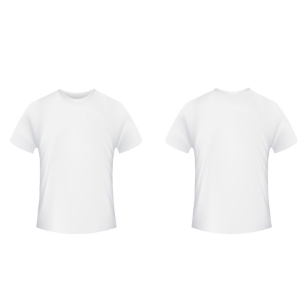 Blank t-shirt template. Front and back side on a white background