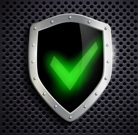 green tick: metal shield with green tick