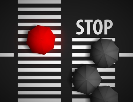 best shelter: red umbrella and black umbrellas on a background of a pedestrian crossing