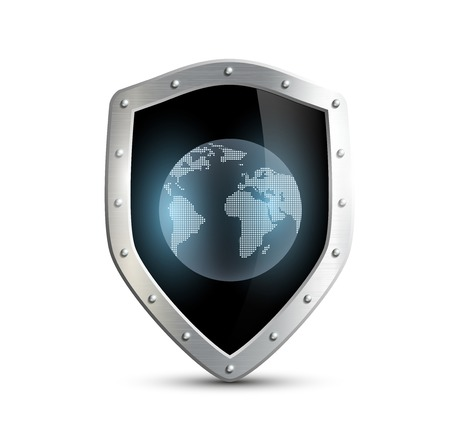 metal shield with the image of planet earth. isolated on white background Vector