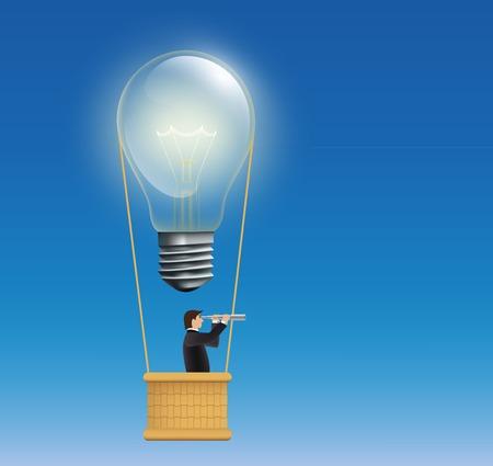 suspenso: hombre en un globo de aire caliente en forma de una lámpara incandescente