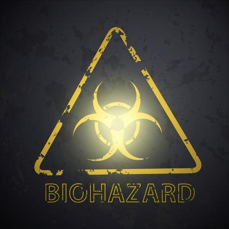 hazardous area sign: pared con una imagen del s�mbolo de riesgo biol�gico