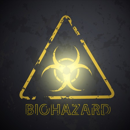biological waste: wall with a picture of the biohazard symbol