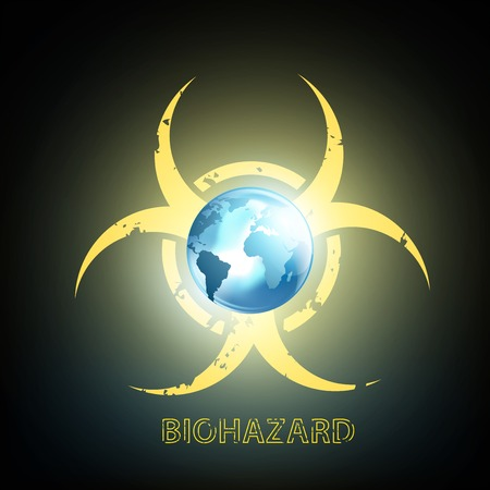 hazardous waste: biohazard symbol and planet earth