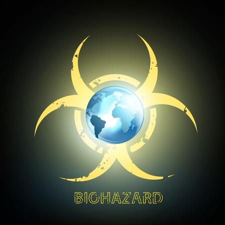 hazardous area sign: s�mbolo de riesgo biol�gico y el planeta tierra Vectores