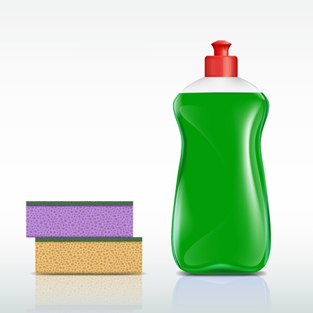 sponge: plastic bottle with detergent and sponge Illustration