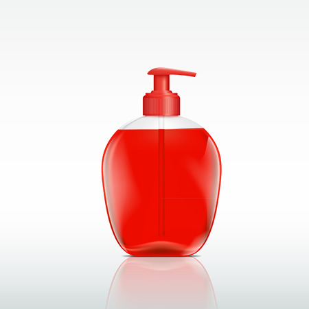 jabon liquido: botella de plástico con un dispensador para jabón líquido