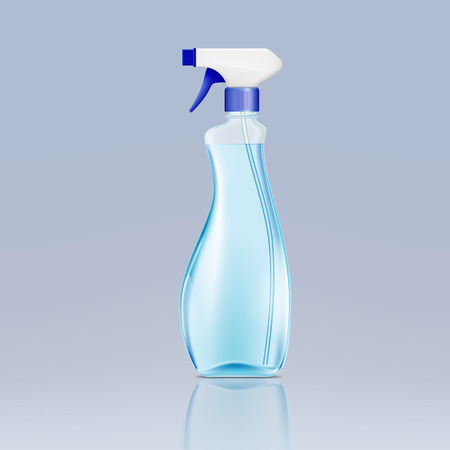 disinfect: plastic spray bottle with cleaning liquid Illustration