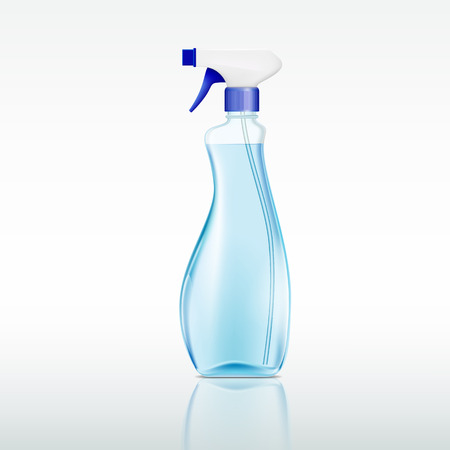 liquid: plastic spray bottle with cleaning liquid Illustration