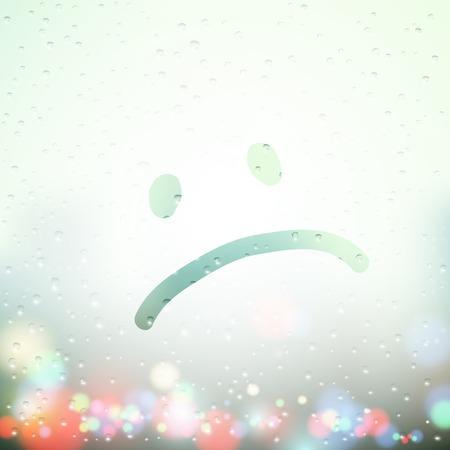 visage peint: visage triste peint sur sueur fen�tre