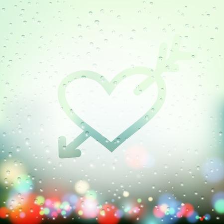 sweaty: heart with an arrow painted on Sweaty Window