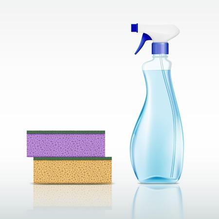 Kunststoff-Sprühflasche mit Reinigungsflüssigkeit und Schwamm