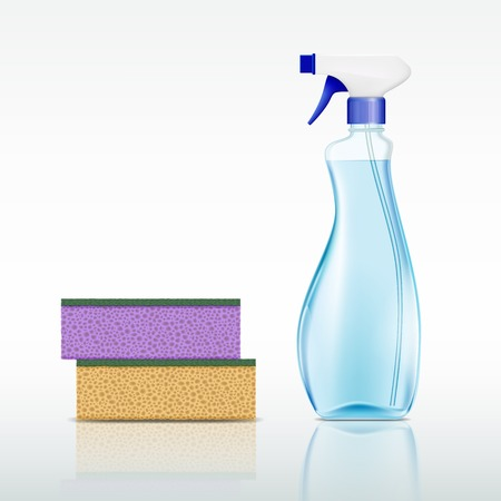 spray bottle: plastic spray bottle with cleaning liquid and sponge