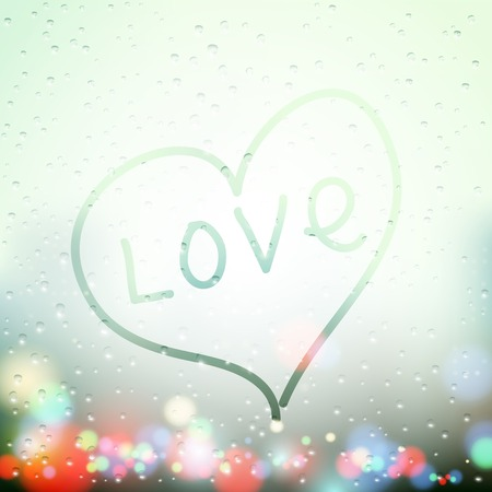 sweaty: heart painted on sweaty Window Illustration