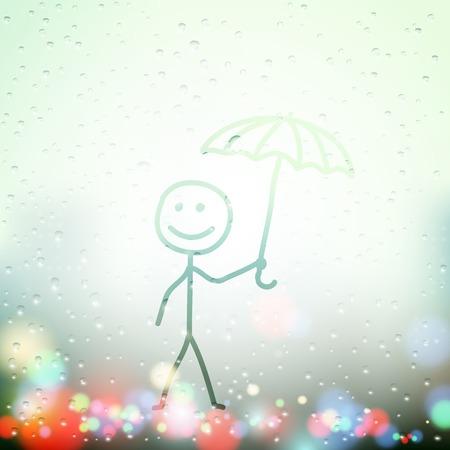 sweaty: a man with an umbrella painted on Sweaty Window